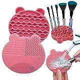 Tenmon Almohadilla de Limpieza para Brochas de Maquillaje 2 en 1 Cepillo de Silicona Cepillo para Secadora Cepillo Portátil Cepillo de Viaje Herramienta de Limpieza (rojo rosa)