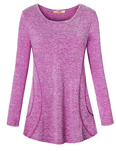 LURANEE Sun Protection Clothing Women, Long Sleeve Workout Tops Energetic Lightweight Dressy Comfy Essential Polyester Pilates Moisture Wicking Athletic Shirts Zulily Gym Blouse Tunics Purple XL