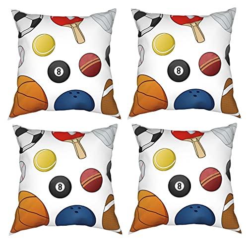 Mgbwaps Sport-Ball-Kissenbezüge, 4er-Set, dekorativ, 30,5 x 30,5 cm, quadratische Kissenbezüge, Kissenbezug für Couch, Sofa, Wohnzimmer