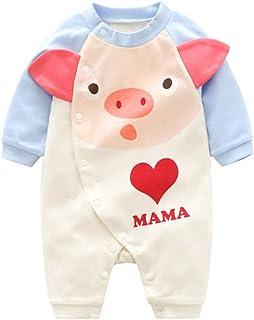 (0〜24ヶ月) 可愛い 赤ちゃん クライミングスーツ リトルモンスター 漫画 豚の頭 レター 愛してる 女の子 男の子 パジャマ ルームウエア ロングスリーブ 新生児 秋 Regoss (レジス) 子供