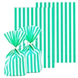 ADIDO EVA 100 Packs Green Cellophane Bags Stripes Cookie Bags with Ties Clear Plastic Goodie Bags for Dessert Cookie Candy Snack Wrapping Party Favor Bags (8 x 5.5 x 2 inch Mint Green)
