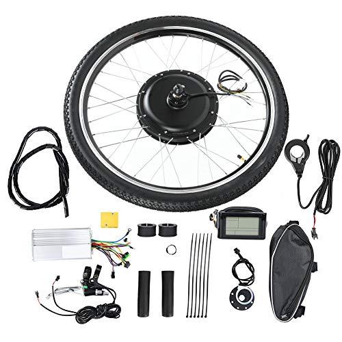 """Hongzer Kit de conversão Ebike, 26"""" dianteiro/traseiro, kit de motor elétrico de bicicleta 48V 1000W motor potente conversão de bicicleta eletrônica com controlador/visor LCD, torque máximo 28N.M (2#)"""