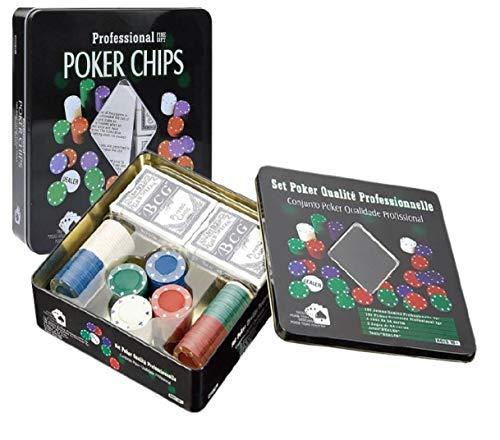 Set de póker con Caja Metalica 4G, Chip 100 fichas +2 Barajas de Cartas+Ficha Dealer.