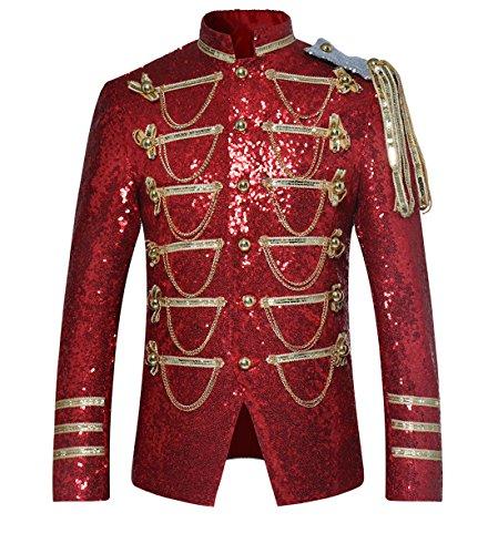 Allthemen Smokingjacke Herren Frack Kostüm Gothic Jacke Frack Mantel Glitzer Pailletten Sakko für Hochzeit Party Abschlussball Rot Large