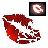 customTAYLOR33 High Intensity Reflective Vinyl Death Kiss Skull Crossbones Lips Decal Bumper Sticker - Cars, Motorcycles, Helmets, Wind Screens, laptops, cellphones, (Red, 3 inch Wide, Pair)