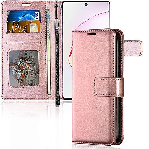 TECHGEAR Galaxy Note 10 Plus Cover Protettiva in Pelle con Slot per Schede, Supporto e Cinturino da Polso - Oro Rosa Pelle Sintetica designato per Samsung Galaxy Note 10+, Note 10+ 5G
