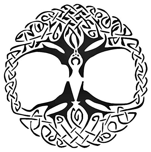 Wiccan Goddess Celtic Tree Reusable Sturdy Stencil Clear Custom Cut Plastic Sheet Template Cutout Sign DIY Supplies for Airbrush Painting Drawing 1-8x8 inch