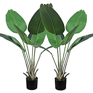Artificial Bird of Paradise Plant – 4 Feet Fake Banana Palm Tree 【2 Pack】 with Black Pot Faux Greenery Tree for Indoor Outdoor Decoration Feaux Plants