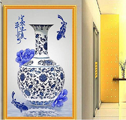 Diamant Schilderij Verf Door Aantal Kits Volledige Boor Voor Thuis Muurdecoratie Strass Borduren Grote Foto's Cross Stitch DIY 5D Arts Craft Vaas Vis