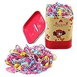 1 scatola (100 pezzi) colori assortiti cartone animato carino elastico ragazza bambino capelli cravatta capelli anello con una scatola di latta cartone per ragazza signora (colore casuale)
