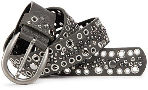 styleBREAKER cinturón de remaches perforados y estrás en estilo vintage, reducible 03010026, tamaño:95cm, color:Gris oscuro