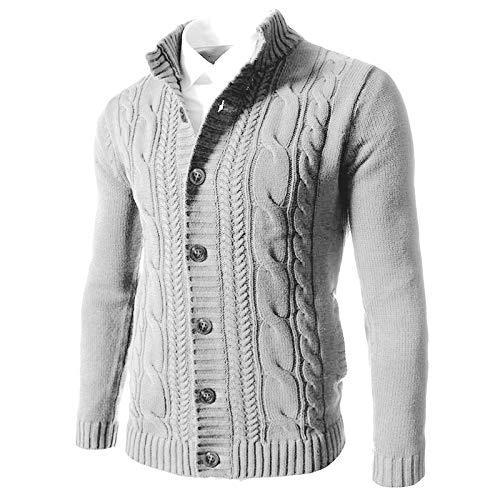 Chaqueta de Punto de un Solo Pecho para Hombre Color sólido Casual Cuello Alto Suéter de Gran tamaño de Moda Regular clásico 4XL
