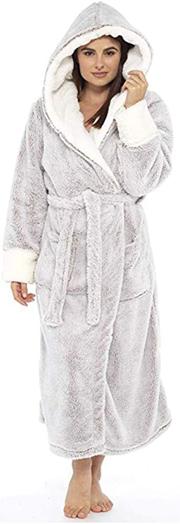 iQKA Women's Winter Plush Shawl Bathrobe Plus Size Home Clothes Long Sleeve Solid Color Comfortable Robe Coat with Belt