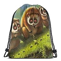面白い漫画Tarsiers蟻の森巾着袋ジムバッグ、巾着バックパックスポーツジムバッグ、防水スポーツバッグ観光デイパック