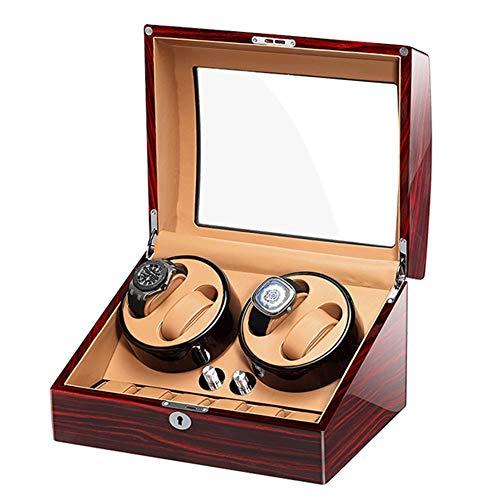 TANGIST Cajas Giratorias para Relojes 4+6 Cuero Relojes Estuche de Almacenamiento Cerradura y Llave Motor Silencioso 5 Modos Piano Lacquer (Color : Brown-a)