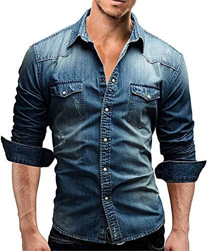 Men's Casual Slim Fit Button Down Dress Shirt Long Sleeve Denim Work Shirts with Pocket (M, Blue)