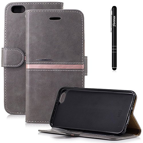 Slynmax Book Folio Leder Tasche Schutzhülle für iPhone 6s Plus/iPhone 6 Plus 5,5