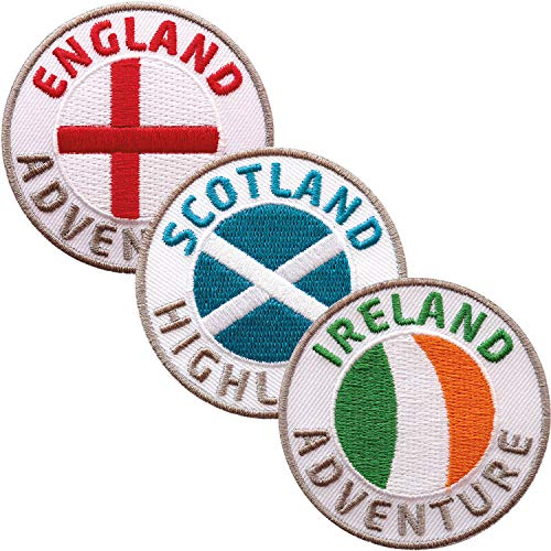 3er Set England + Schottland + Irland Abzeichen 60 mm gestickt / UK Großbritannien Aufnäher Aufbügler Sticker Flicken Bügelbild Patch / Reiseführer Flagge Fahne Flagg Karte Wandern Wanderführer Wales