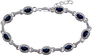 Impresionante pulsera de tenis de zafiro azul y diamantes en plata de ley, ajustable para adaptarse a muñecas de 7 a 8 pul...