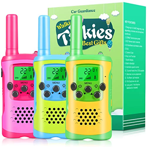 Walkie Talkies for Kids, 22 Channel 2 Way Radio 3 Mile Long Range Kids Toys & Handheld Kids Walkie Talkies, Best Gifts & Top Toys for Boy & Girls Age 3 4 5 6 7 8 9 for Outdoor Game, Boys Toy(3 Pack)