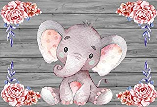 Yeele 7x5ft Baby Shower Photo Booth Photography Backdrop Cute Elephant Watercolor Flowers Wood Texture Background Girl Boy Birthday Party Banner Decoration Portrait Shooting Studio Props Wallpaper