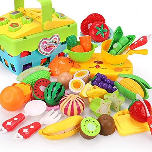REMOKING Lebensmittel Spielzeug Set für Kinder, Kinderküche Zubehör Spielzeug, Kinder Rollenspiel Küchenspielzeug, Spielzeug Geschenk für Kinder ab 3 Jahre