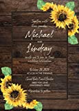 Rustic Country Sunflower Wedding Invitations with RSVP Option Quantity of 50