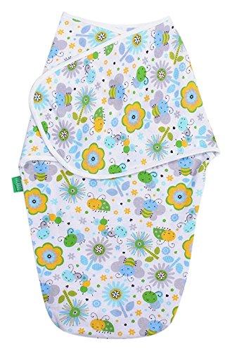 LULANDO Ganzkörper Pucksack Pucktuch Strampelsack aus 100% Baumwolle, von Hebammen empfohlen, Öko-Tex Standard 100, Farbe: Green Bees