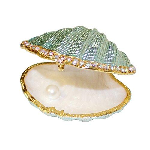 MICG – Schmuckschatulle in Form einer Muschel mit Perle im Inneren, Vintage-Stil, aus Metall, mit Scharnier, Halter für Eheringe White Inside Big
