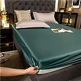 haiba Sábana bajera de franela de algodón cepillado de lino, sábana bajera ajustable suave y acogedora, color verde oscuro, 120 x 200 cm