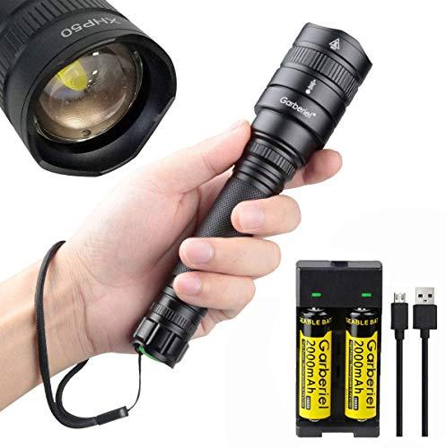 Linterna LED 4000 lúmenes XHP50 Alta Potencia, 5 Modos de Zoom Táctico al Aire Libre Linterna Impermeable Luces de Emergencia para Camping, Senderismo, Uso en el Hogar(Cargador y Pilas Incluidas)