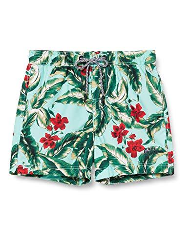 Superdry Super 5s Beach Volley SWM Shrt Pantalones Cortos, Turquesa (Indo Leaf Aqua 3bl), L para Hombre