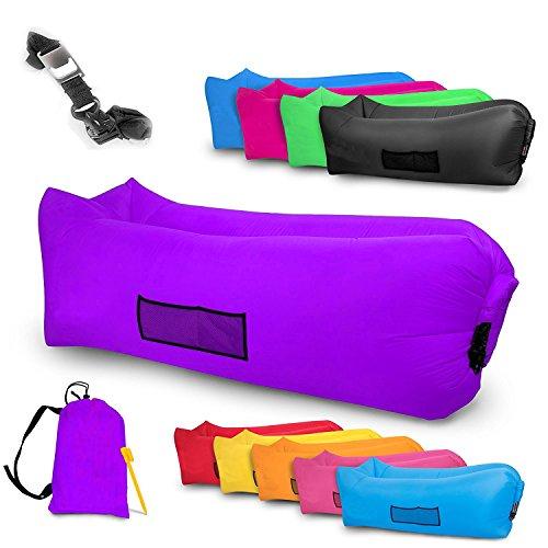ChillX Canapé gonflable imperméable pour plage, piscine, jardin, parc avec piquet de sécurité, décapsuleur et poches latérales dont sac de rangement 2017, violet
