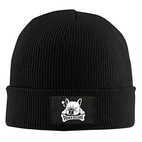 Field Rain Sleeping French Bulldog Fashion Men 's Warm Winter Hats Thick Knit Cuff Beanie Cap Black