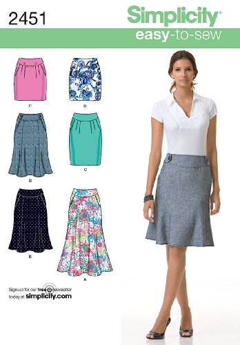 Simplicity Learn to Sew Schnittmuster 2451 für Damenröcke, Gr. 32-44