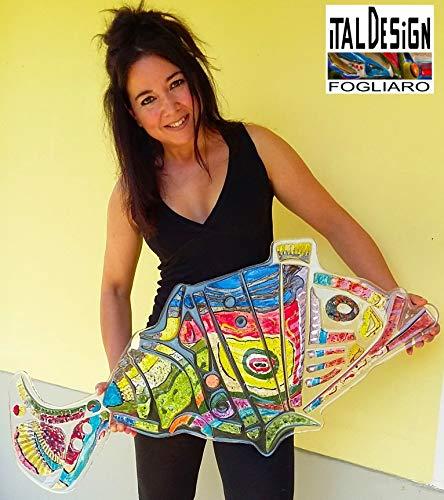 FISH Karpon. SCULPTURE WALL OPERA D 'MODERN ART UNTERZEICHNET ITALDESIGNFOGLIARO SQUARE CONTEMPORARY ART