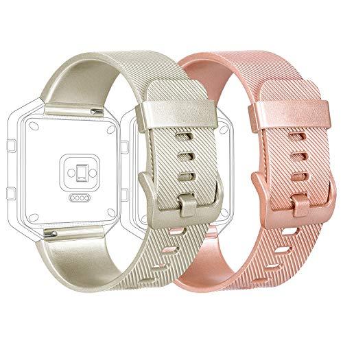 Tobfit - Correa compatible con Fitbit Blaze, silicona, ajustable. Correa compatible con Fitbit Blaze. Tamaños:pequeño y grande para mujeres y hombres., color 2-pack Rose gold+Gold