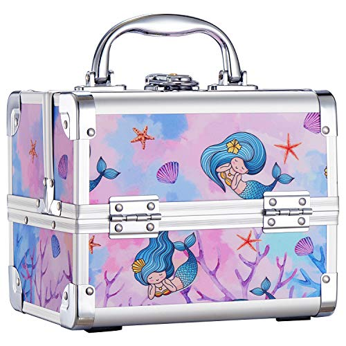 Joligrace Makeup Train Case for Girls Cosmetic Box Jewelry Organizer Hair Accessories Storage Lockable with 2-Tier Trays & Mirror Kids Gift Mermaid Princess
