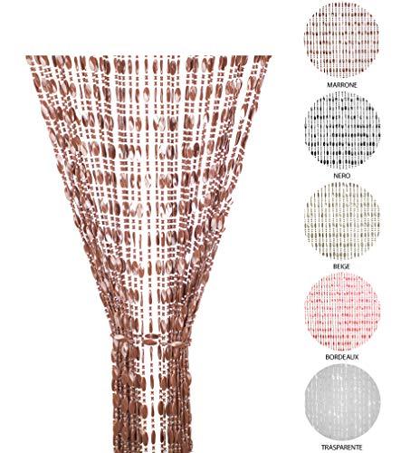 Tenda Antimosche a Perline per Porta Finestra Moschiera a Pannello Misura 120 x 220 cm. Colore Marrone