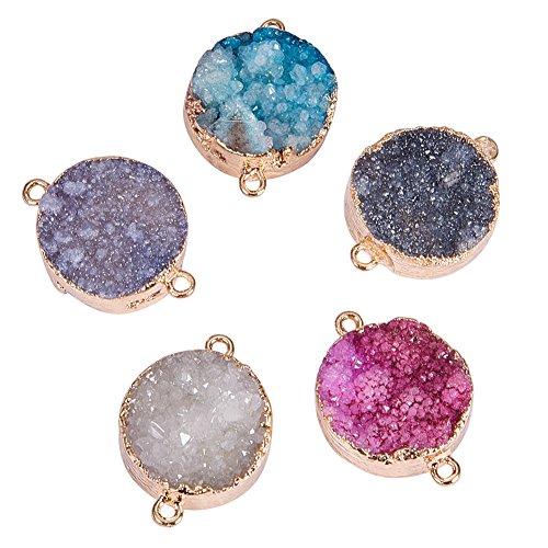 PandaHall Elite 5 Unidades Ágata Piedras Preciosas Colgante Chakra Perlas Color Surtidos DIY Cristal Colgante, Colore Misto#4, 25~60x6~35x7~20mm Mezcla aleatoria Color