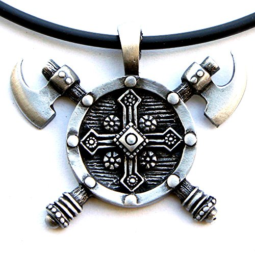 Renaissance Medieval Babarian Knight Gladiator Celtic Norse Viking Jewelry Shield Double edged Battle Axes Axe Pewter Men's Pendant Necklace Charm Protection Amulet Medallion Talisman w Black PVC Cord