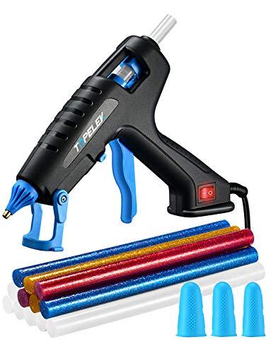TOPELEK Pistola de Silicona Caliente 60W, Pistola de Pegamento Adulto con 12 PCS barras de pegamento y 3 Protectores de dedos, para usos industriales, manualidades caseras para bricolaje