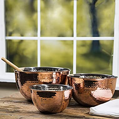 Set Of 3 Copper Hammered Mixing Bowls With Stainless Steel Interior Finish Nesting Bowls, Chef Cookware Set,