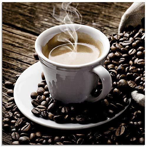 Artland Glasbilder Wandbild Glas Bild einteilig 30x30 cm Quadratisch Kaffee Coffee Cafe Cappuccino Espresso Kaffeebohnen T5VA