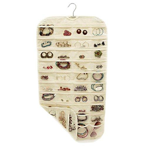 YMOON 80 Pocket Hanging Jewelry Organizer Earrings Display Storage Holder - Beige