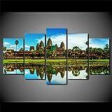 IJNHY 5 Piezas Pintura sobre Lienzo Moderna Templo de Angkor Wat en Camboya Impresión del Hogar Sala Estar Dormitorio Cuadro sobre Lienzo Listo para Colgar 150 * 80Cm con Marco