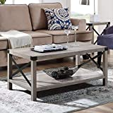New 40 Inch Metal X Frame Coffee Table with Grey Wash Finish