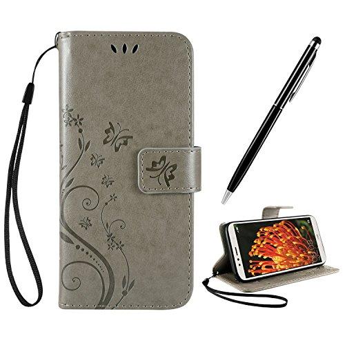 AROYI Huawei Y6 2018 Hülle BookStyle Handyhülle Honor 7A Tasche Leder Flip Hülle mit Funktion Standfunktion Schutzhülle für Huawei Y6 2018 Cover Grau + Stylus Pen