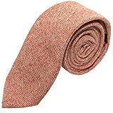 King & Priory Stonewashed Ziegelrote Krawatte in Highland Webart