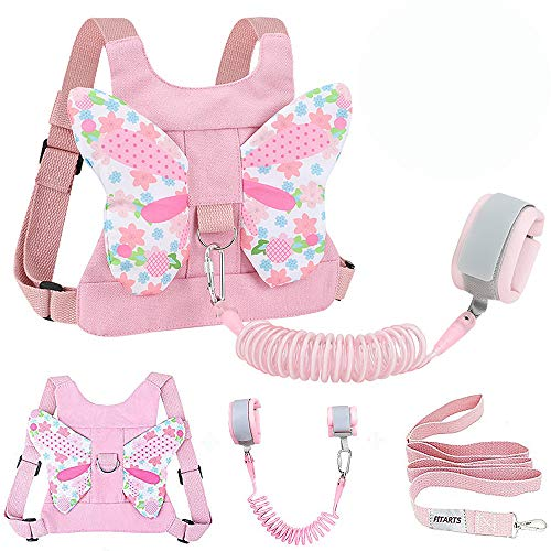 Toddlers Leash + Anti Lost Wrist Link Child Kids Safety Harness Kids Walking Wristband Assistant Strap Belt for Girl Pink Tapestry(Butterfly)